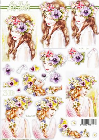 Ladies With Spring Flowers In Their Hair Die Cut 3d Decoupage Sheet From Le Suh